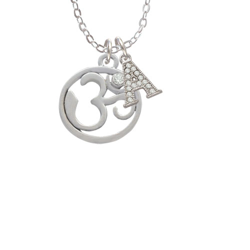 """Om in Circle with Clear Crystal - A - Crystal Initial Sophia Necklace, 18""""+1"""""""