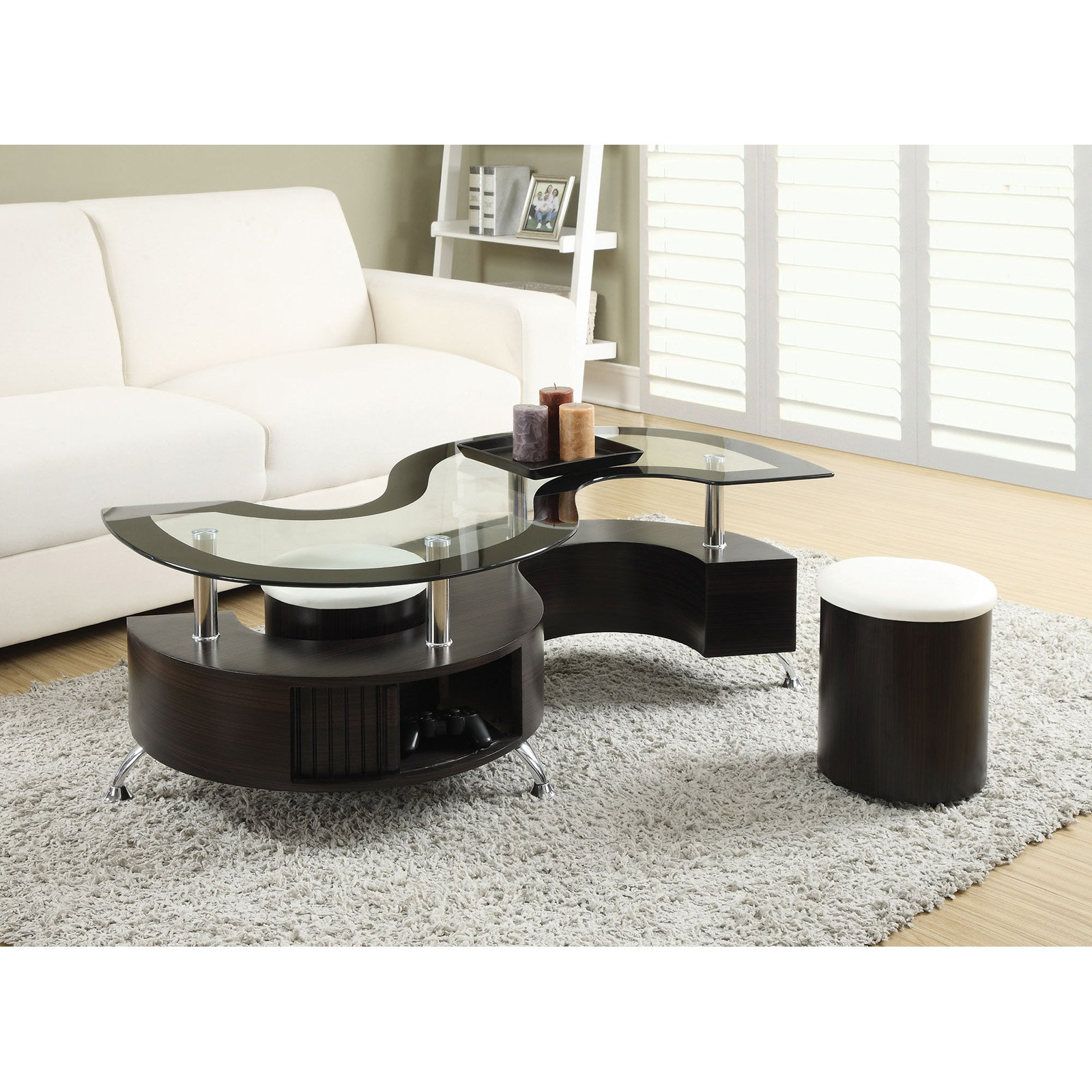 Wonderful Coaster Furniture Glass Top Coffee Table With Stool