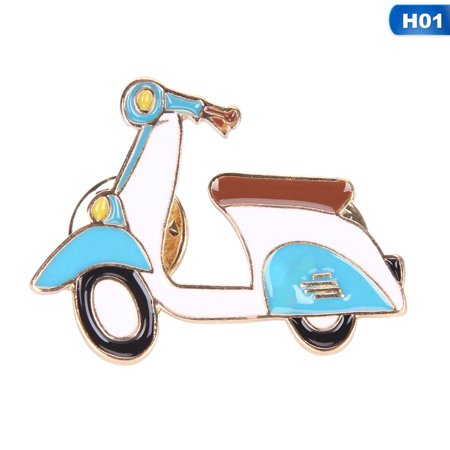 KABOER 1x Cartoon Motorcycle Shell Enamel Brooches Denim Collar Pins Jewelry