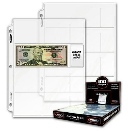 20 Twenty Bcw Pro 4 Pocket Modern Currency Storage Page Coin