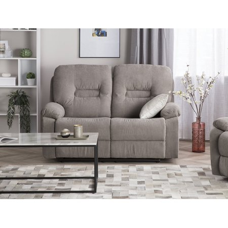 Modern Fabric Recliner Sofa Manual Reclining Padded 2 Seater Beige Bergen