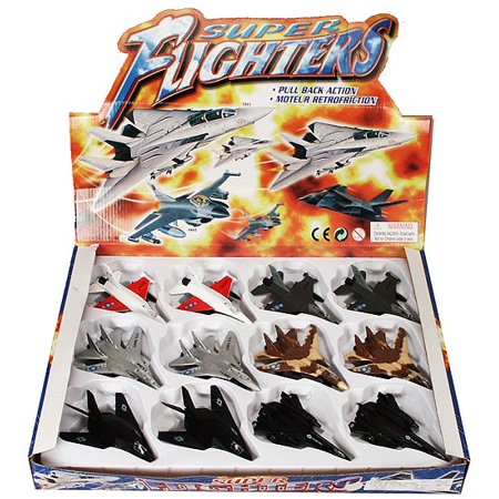 Super Flighters Airplanes Diecast Airplane Package - Box of 12 assorted 4.75 Inch Scale Diecast Model Planes