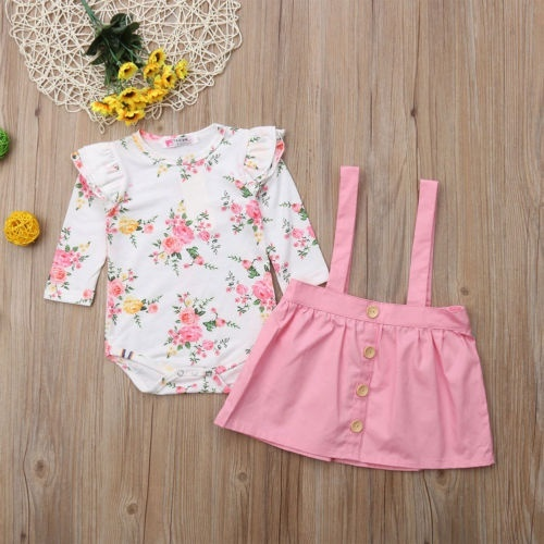 2Pcs Toddler Kids Baby Girls Overall Outfits Floral Romper Tops+Strap Dress 2PCS Autumn Clothes Sets New