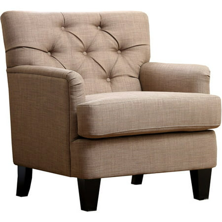 Abbyson Living Hope Linen Fabric Tufted Club Chair  Taupe