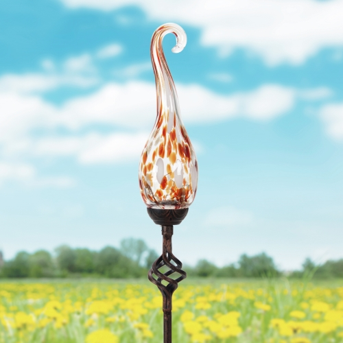 Exhart Solar Glass Spiral Finial Garden Stake Assortment, Stakes, Variety of Colors, Outdoor lights, Accented Light for Garden or Yard or Driveway, Solar-Powered, Red
