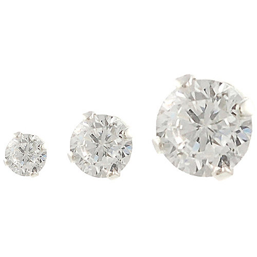 Brinley Co. CZ Solitaire Sterling Silver Earrings Set, 3 Pairs