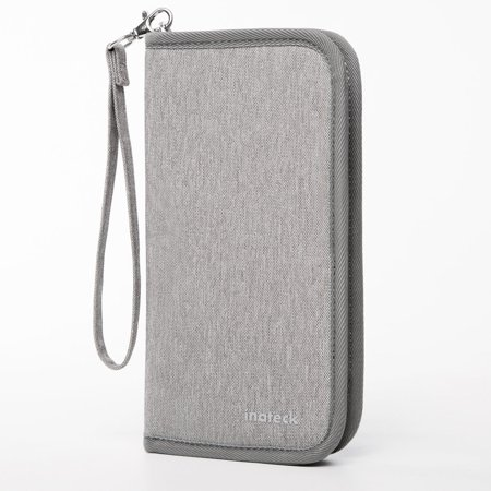 Inateck Travel Wallet Passport Holder Family Document Card with Hand Strap Zip Closure Document Organizer Passport Ticket Credit ID Card Cash Holder Case - Gray Airline Ticket Wallet