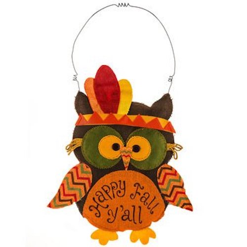 Patchwork Fall Fun with Owl and burlap Leaves