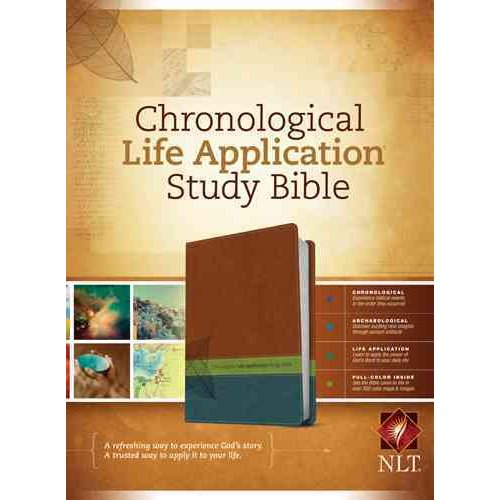 Chronological Life Application Study Bible: New Living Translation Brown / Green / Dark Teal TuTone LeatherLike