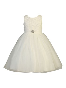 88147e16cdec Product Image Little Girls Ivory Organza Floral Pearl Tulle Flower Girl  Dress 2T-6