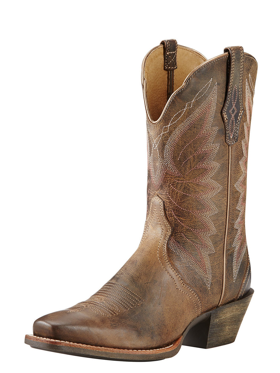 Ariat Autry Women Square Toe Leather Brown Western Boot by Ariat
