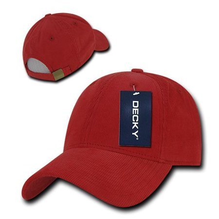 Red Cotton Structured Low Crown Curved Corduroy Baseball Ball Cap