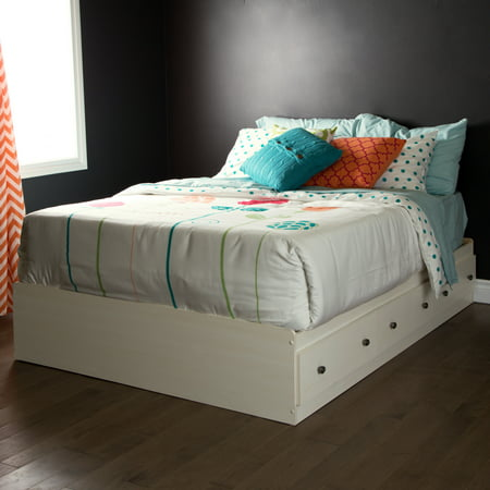South Shore Country Poetry Full Mates Storage Bed (54'') with 3 Drawers, White (Stone County French Country Bed)