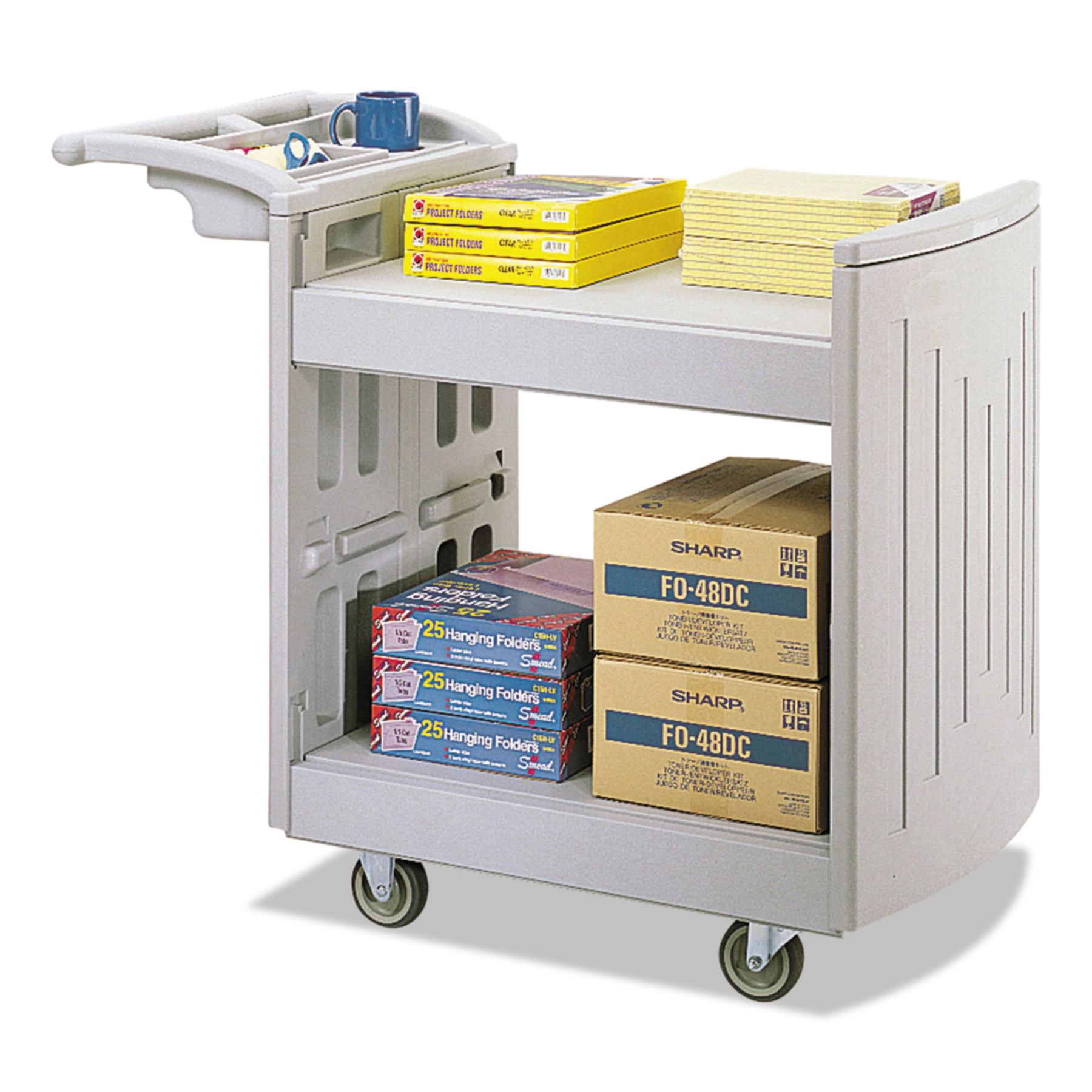 Safco Utility Cart, Two-Shelf, 45w x 23d x 37-1/4h, Light Gray