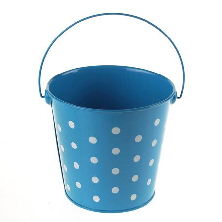 polka dot metal pail bucket party favor, 5-inch, turquoise