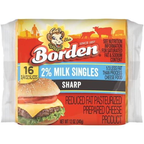 Borden 2% Milk Singles Sharp Cheese Slices, 0.75 oz, 16 ct