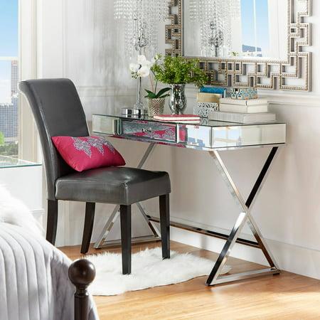 chrome office desk. Chelsea Lane Chrome Mirrored Office Desk With Drawer, X Based