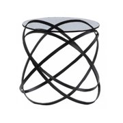 Infinity Side Table in Black Lacquer Finish