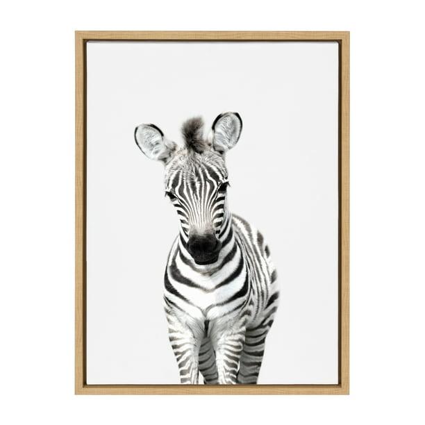 Kate And Laurel Sylvie Baby Zebra Animal Print Portrait Framed Canvas Wall Art By Amy Peterson 18x24 Natural Walmart Com Walmart Com