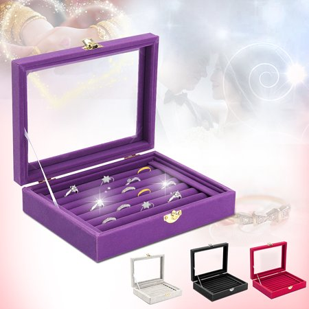 Jewelry Box Show Case Storage Velvet Or PU Portable 6 Colors Rings Earings Bracelet Necklace Glass Display Holder Tray Wood Organizer Travel Ornaments Cosmetic Women Girls Gift (Ring Holder Ornament)