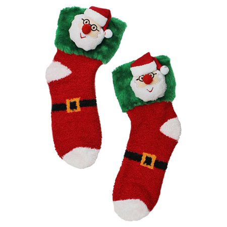 happy santa plush holiday christmas socks - Walmart Christmas Socks