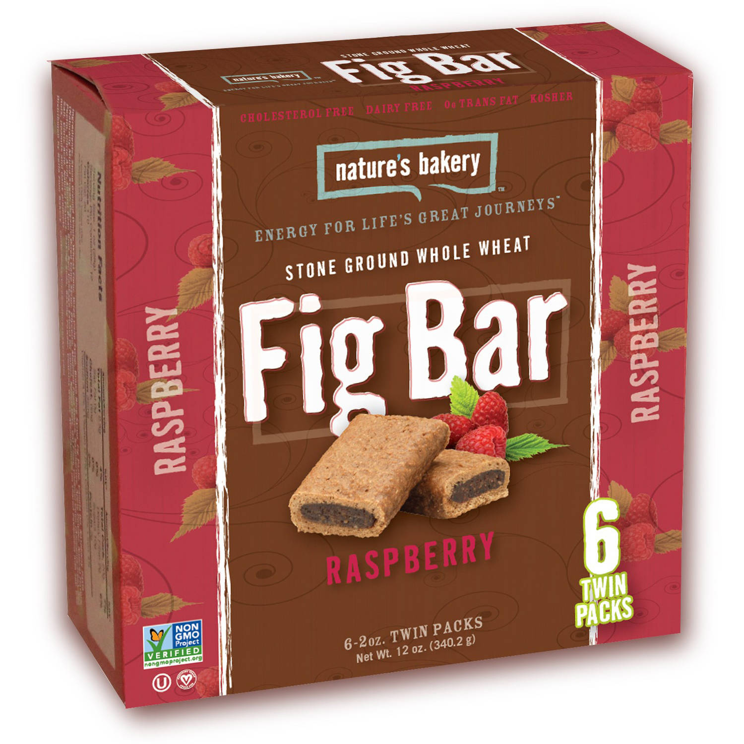 Nature's Bakery Stone Ground Whole Wheat Raspberry Fig Bars, 12 ct, (Pack of 6)