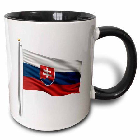 3dRose Flag of Slovakia on a flag pole over white Slovakian, Two Tone Black Mug, 11oz