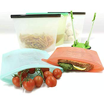 5 Reusable Silicone Food Bag & Holder - Zip Silicone Bags Reusable - Large Reusable Freezer Bags - Reusable Lunch Bags - Silicone Food Storage Bag - Zip Top Containers