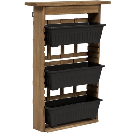 Half Wall Planter (Best Choice Products 3-Tier Indoor/Outdoor Adjustable Outdoor Rustic Natural Wooden Vertical Standing Wall Mount Planter for Patio, Garden, Greenhouse - Brown)