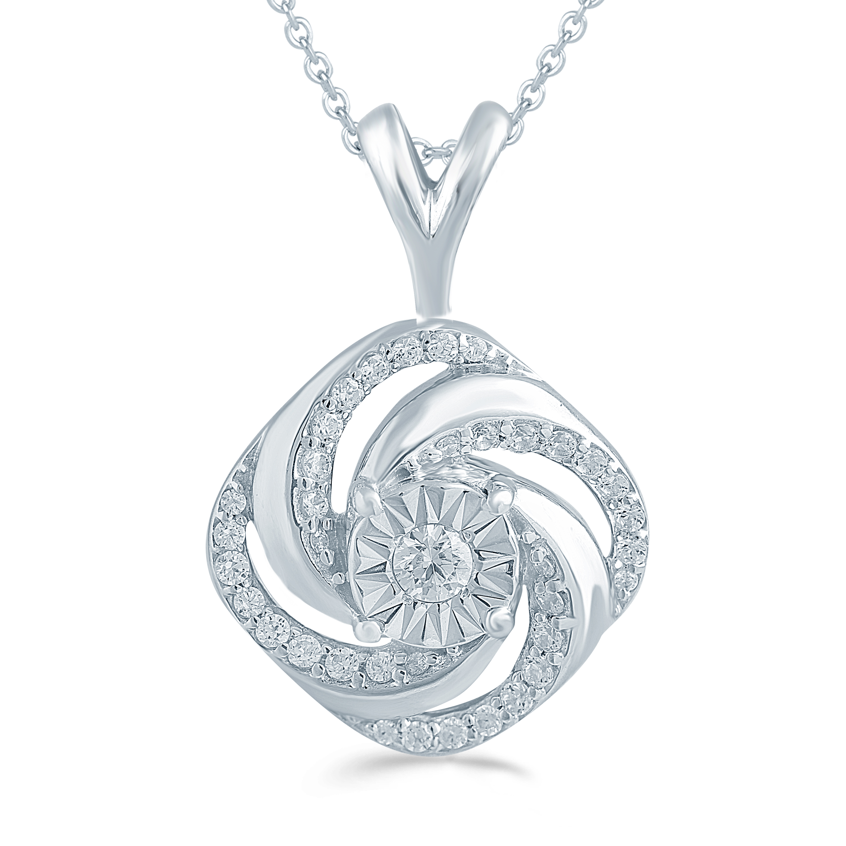 Fifth and Fine 1//4ct tw Diamond Swirl Cushion Cluster Fashion Pendant in Sterling Silver with 18 Cable Chain