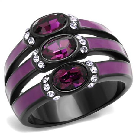 Black & Purple Stainless Steel Amethyst Crystal Fashion Ring Women's Size (Purple Amethyst Crystal)