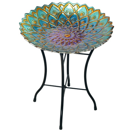 "Peaktop - Outdoor 18"" Mosaic Flower Fusion Glass Birdbath w/ Stand"