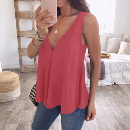 a92669553d38b2 UKAP - Women s Casual Summer Sexy V Neck Lace Sleeveless Loose Shirt Vest  Crop Tank Tops Blouse Camisole Plus Size - Walmart.com