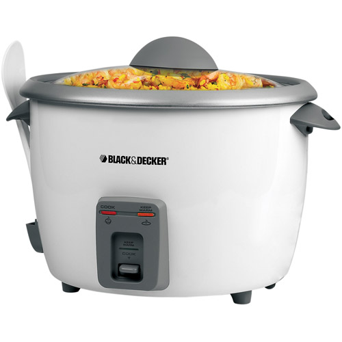 Black & Decker 28-Cup Rice Cooker with Steamer Basket, White