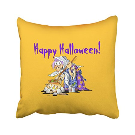 WinHome Cute Vintage Popular Purple Halloween Witch Yellow Pattern Polyester 18 x 18 Inch Square Throw Pillow Covers With Hidden Zipper Home Sofa Cushion Decorative Pillowcases