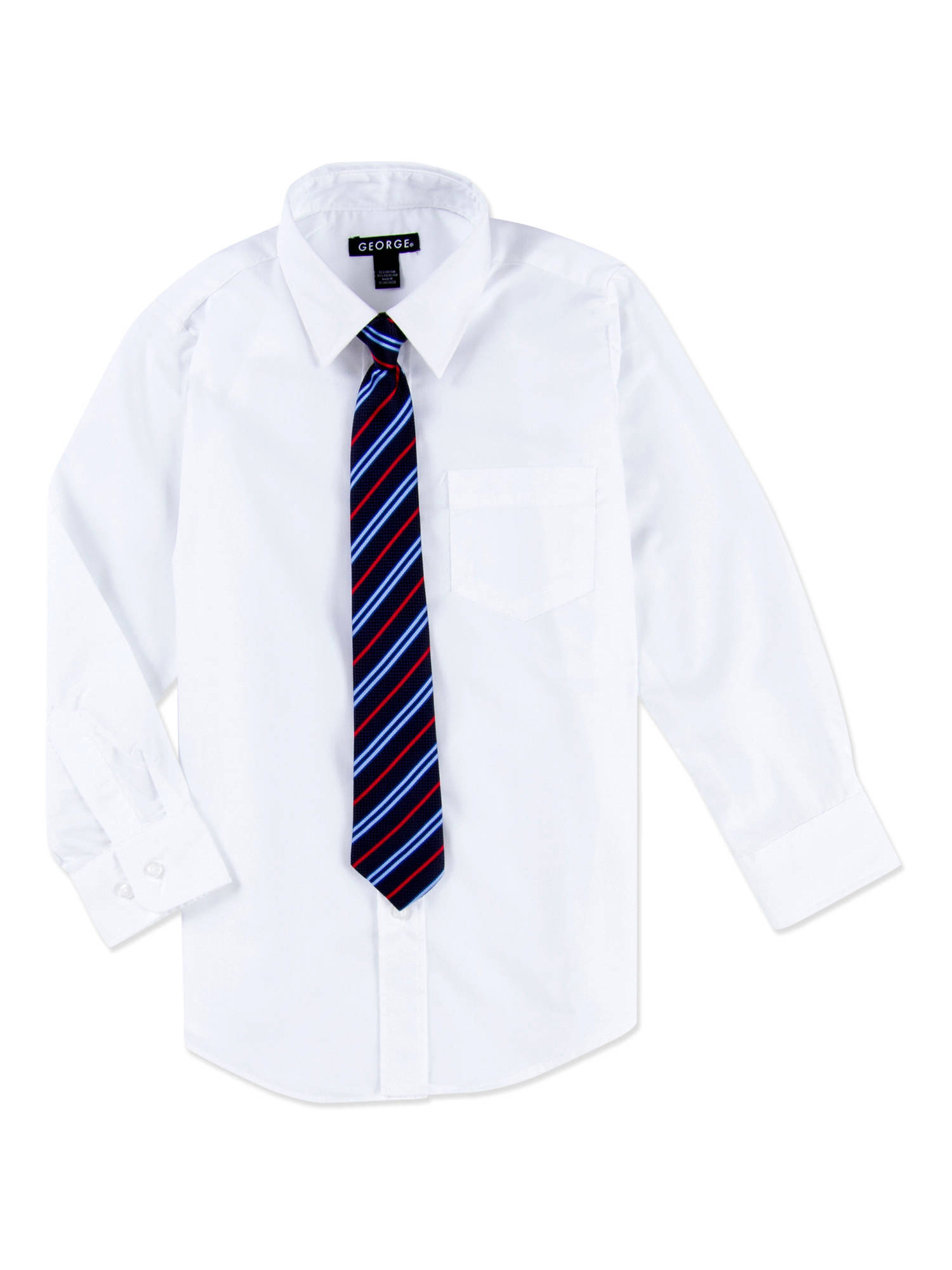 George Boys Packaged Dress Shirt-Tie Husky