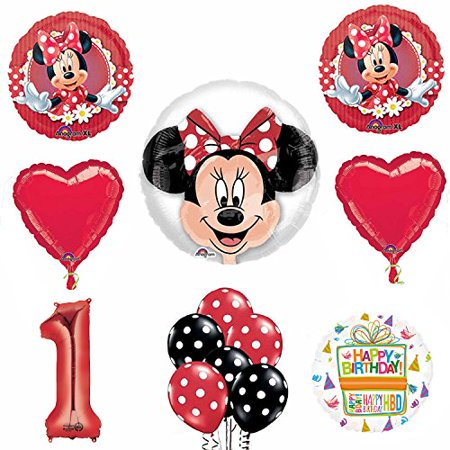 Minnie Mouse 1st Birthday Party Supplies and Red Bow 13 pc Balloon Decorations (Minnie Mouse Birthday Decorations)