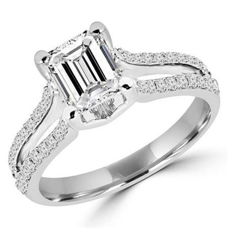 Majesty Diamonds MD160016-3.75 1.4 Bague de fian-ailles sertie de diamants et de branches fendues - plusieurs pierres dans de superbes pierres de taille -meraude en or blanc 14K, taille 3,75 - image 1 de 1