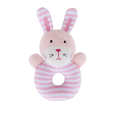 Baby Rattle Soft Cotton Ring Bell Toy Cute Animal Shape for Kids Infant Newborns Pink - Soft Ring Rattle