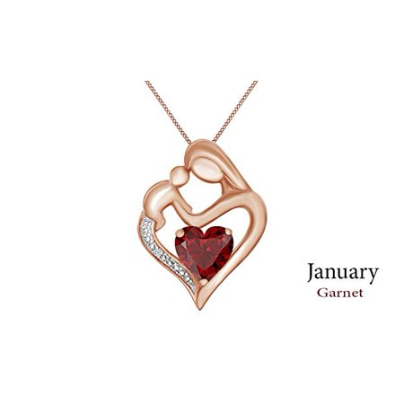 January Birthstone Heart Charm (Simulated Garnet & White Natural Diamond Mother & Child Heart Pendant in 14k Gold Over Sterling Silver (11/10)