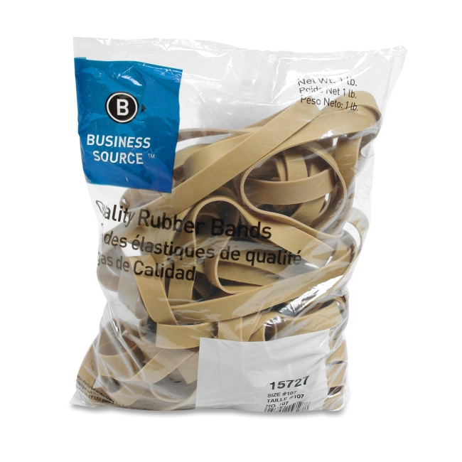 Business Source Rubber Bands, Size 107, 1 lb Bag, Natural Crepe (Set of 2)