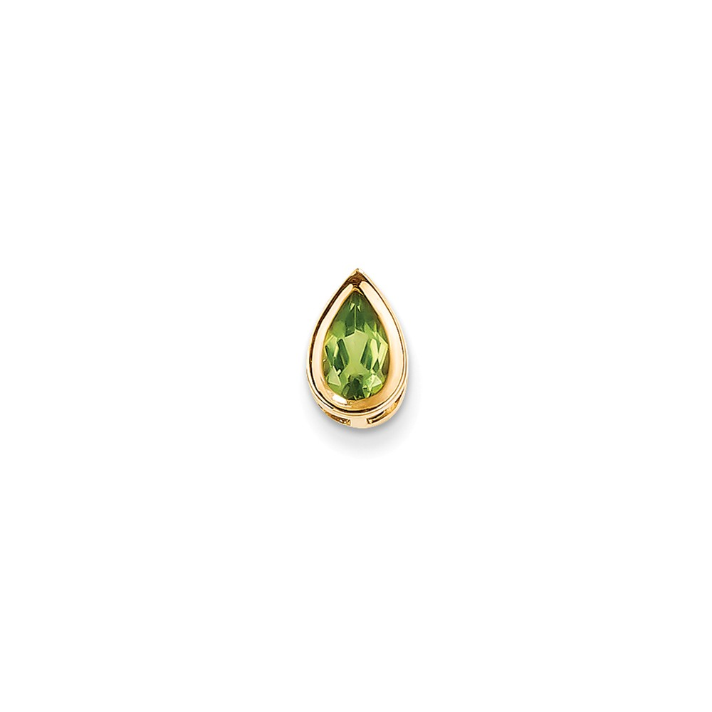 14k Yellow Gold 8x5mm Pear Peridot bezel Pendant Gem Wt- 0.9ct
