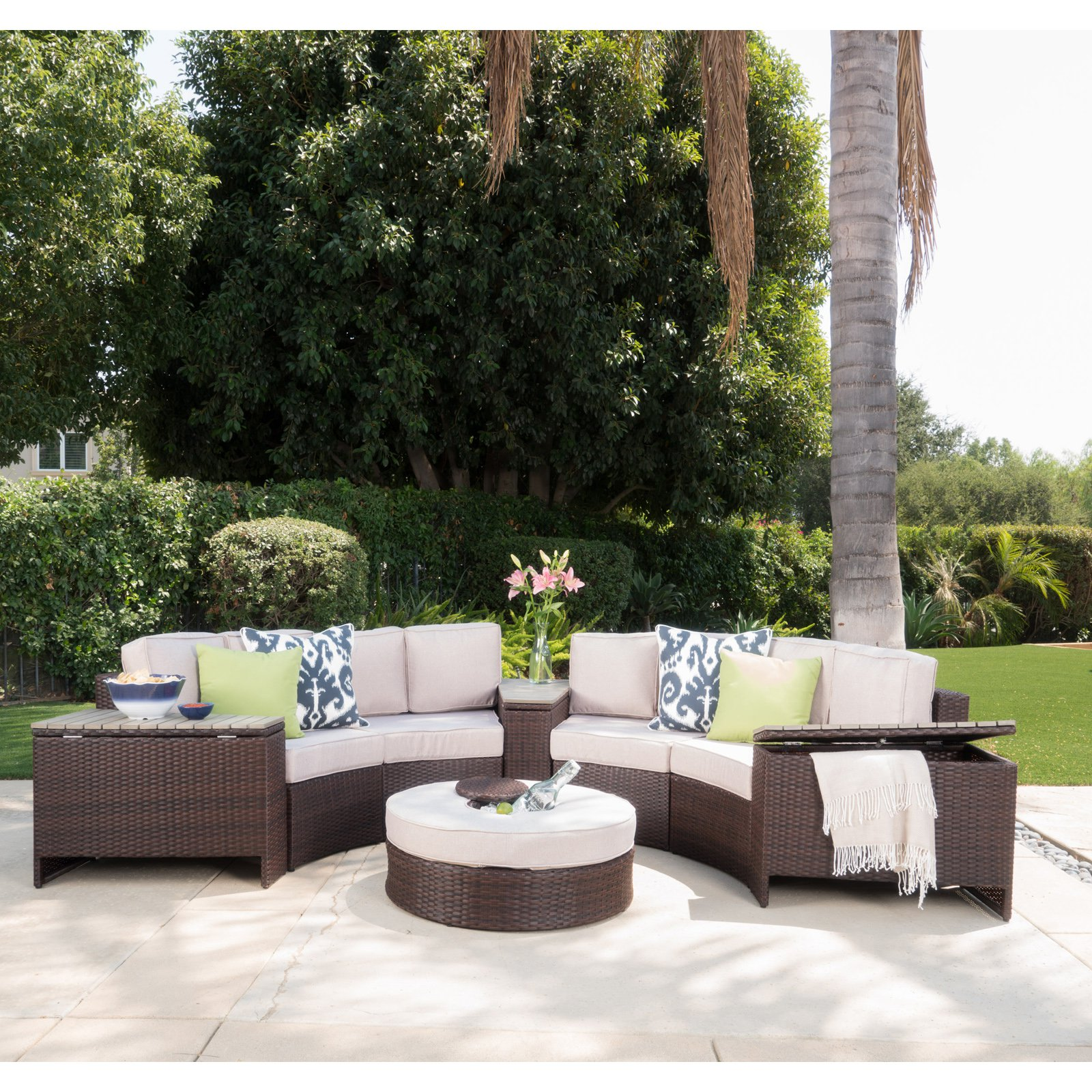 Madras Tortuga Wicker 8 Piece Patio Conversation Set with Ice Bucket Ottoman by Overstock