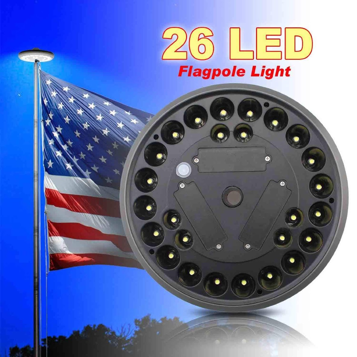 2018 Thanksgiving,26 LED Solar Power Flag Pole Flagpole Light, Technology Super Bright Downlight Light, Brightest and Long-lasting for 15 to 25 Feet Flag Night