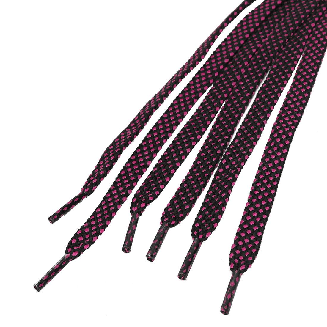 "3 Pairs Double Layer Flat Shoelaces Sneakers Sports Black Fuchsia 140 cm/55"" - image 1 de 4"