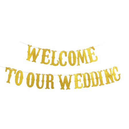 EVA WELCOME TO OUR WEDDING Letters Decor Photo Prop Bunting Banner Gold Tone Set - Wedding Welcome Letter
