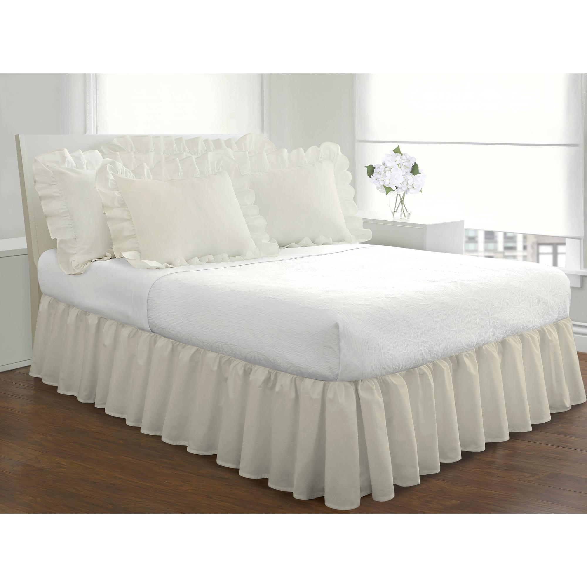 Fresh Ideas Ruffled Poplin Collection Bed Skirt Queen White Walmart Com Walmart Com