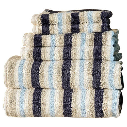Superior Egyptian Cotton Loops Stripes 6 Piece Towel Set