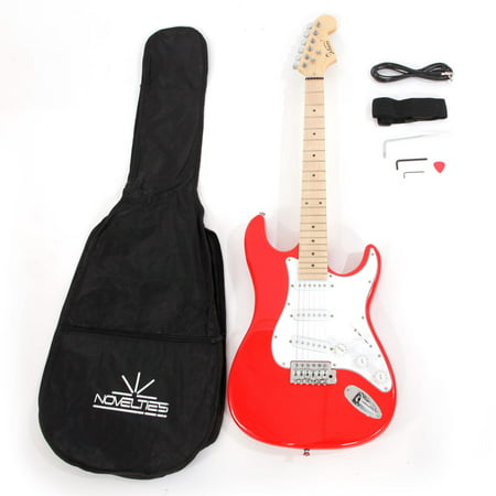 Ktaxon Glarry ST Maple Fingerboard Electric Guitar with Case and Accessories Pack (Red And Black Guitar)