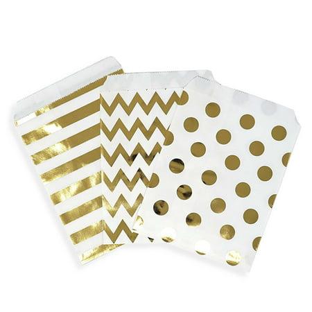 Paper Favor Bags (48 Chevron Polka Dot Stripe Gold Foil Paper Treat Favor Bags 5x7 Gift)